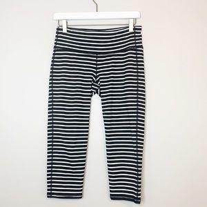 Athleta Black & White Striped Capris Leggings M